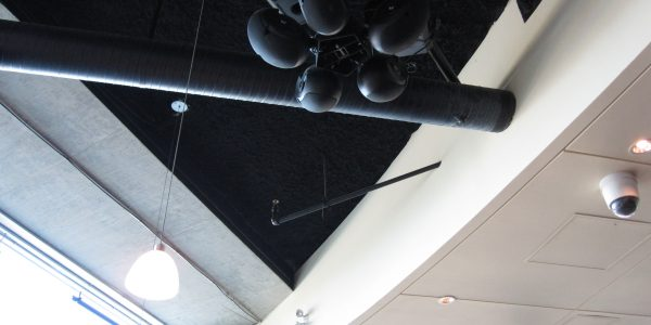 Noise control to offices above with Monoglass Spray-On applied to ceilings at Century City Brew Pub.